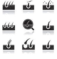 conjunto de ícones de glifo preto sombra queda de cabelo vetor