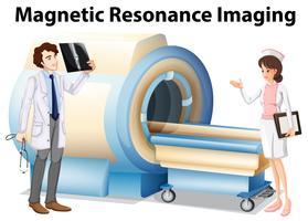 Médico e enfermeira trabalhando com máquina de ressonância magnética vetor
