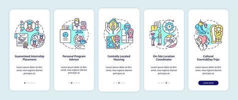 benefícios do programa de estágio na tela da página do aplicativo móvel vetor