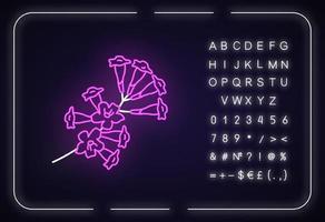 ícone de luz neon plumeria vetor
