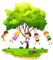Crianças, sentando, ligado, balanço árvore vetor