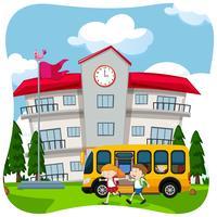 Crianças e ônibus escolar na escola vetor