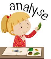 Flashcard para palavra analisar com garota olhando folhas