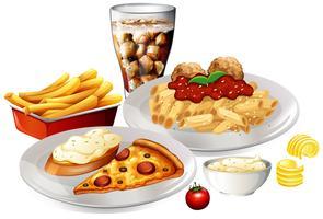 Um conjunto de comida deliciosa vetor