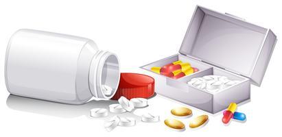 Vários recipientes e pílulas