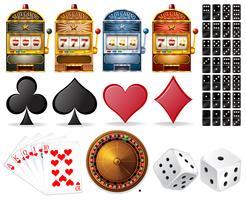 Casino conjunto com cartas e jogos vetor
