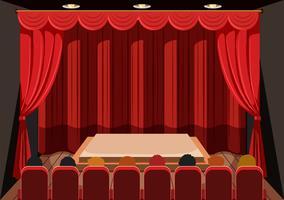 Teatro com cortinas vermelhas