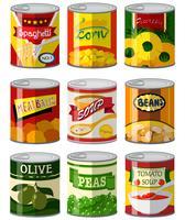 Diferentes tipos de comida em lata vetor