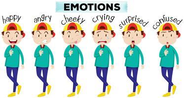 Homem, com, diferente, expressões faciais vetor