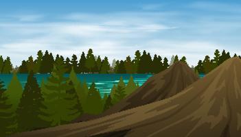 Floresta de cena de fundo na montanha vetor