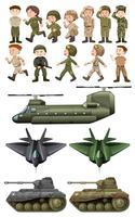 Soldados e diferentes tipos de transportes vetor