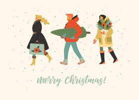 Pessoas de whit de ilustração de Natal e feliz ano novo. Estilo retro moderno. vetor