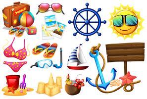 Coisas ideais para um passeio na praia vetor