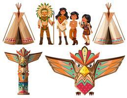 Índios nativos americanos e tenda vetor