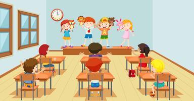 Crianças, tocando, com, fantoches, classroon, cena vetor