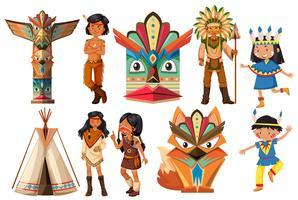 Índios nativos americanos e itens tradicionais vetor