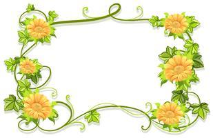 Modelo de quadro com flores amarelas vetor