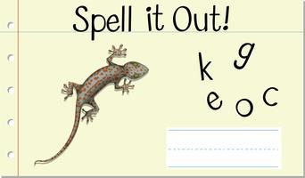 Soletrar palavra em inglês gecko vetor