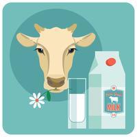Vector design plano moderno ilustração de leite.