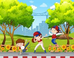 Crianças urbanas dançando no parque vetor