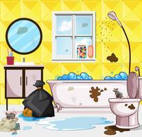 Cena do banheiro muito sujo vetor
