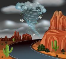 Cena do deserto de tempestade de ciclone vetor