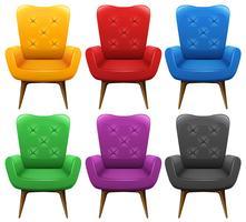Um conjunto de cadeira colorida vetor