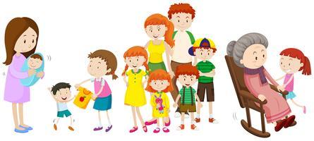 Pessoas em diferentes idades na família vetor