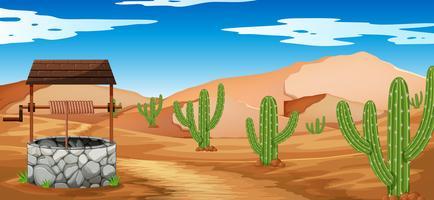 Cena do deserto com cactos e poço vetor