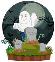 Cena, com, fantasma, em, cemitério vetor