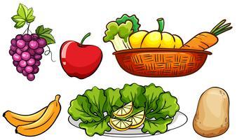 Conjunto de legumes e frutas