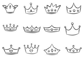 cartoon coroa conjunto doodle vetor