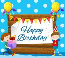 Feliz aniversário, cartão, com, dois meninos vetor