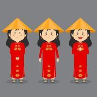 personagem vietnam com várias expressões vetor