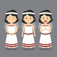 personagem de casamento com várias expressões vetor