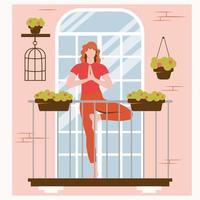 ficar em casa. ioga online na varanda. esportes e treinamento em casa vetor