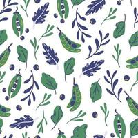 padrão sem emenda com ervilhas e folhas de salada. ervilha verde. h vetor