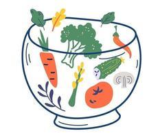 tigela de vidro com legumes. vários ingredientes de salada. vetor