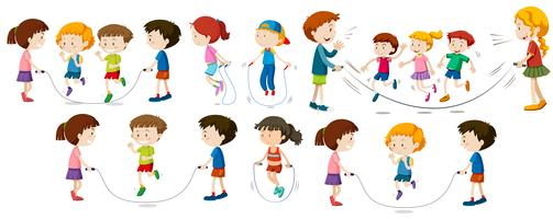 Crianças, fazendo, pular corda vetor
