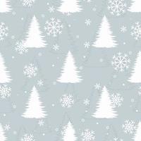 padrão de inverno sem costura com pinheiros brancos e neve. vetor