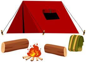 Camping conjunto com tenda e fogo vetor