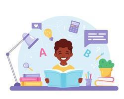 livro de leitura do menino afro-americano. menino fazendo lição de casa. de volta à escola vetor