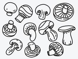 doodle desenho à mão livre de cogumelos vegetais. vetor