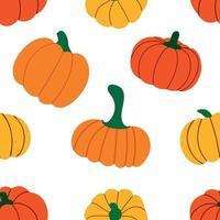 padrão com abóboras outonais de cor laranja vetor
