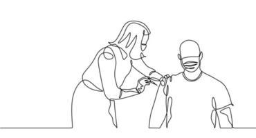 uma linha contínua de uma médica injetando vacina em um homem vetor