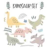 conjunto de dinossauros fofos isolados no fundo branco para brinquedos infantis vetor