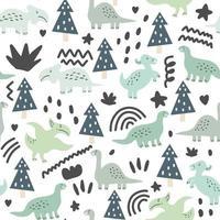 padrão sem emenda de dinossauros fofos e florais vetor
