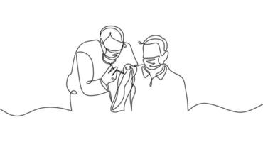 uma linha contínua de um médico injetando vacina em um homem vetor