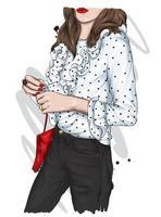 garota em uma blusa e calças elegantes vetor