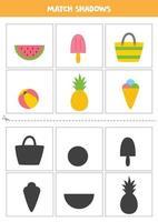 encontrar sombras de elementos de verão dos desenhos animados. cartões para crianças. vetor